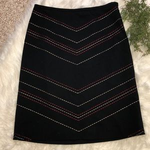 Ann Taylor Black Skirt with Embroidered Detail